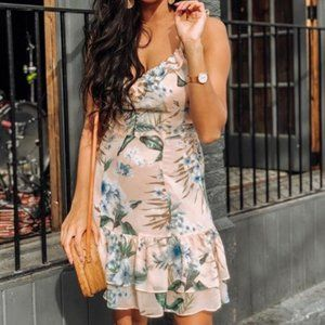 blush-pink-floral-print-ruffled-lace-up